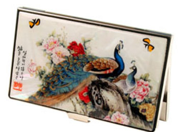 Anti Scan Credit Card Case with Peacock Design