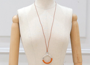 Leather Patch Silver Plated Ring Necklace