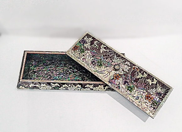 Mother of Pearl Rectangular Multi-Functional Case Inlaid with Butterflie