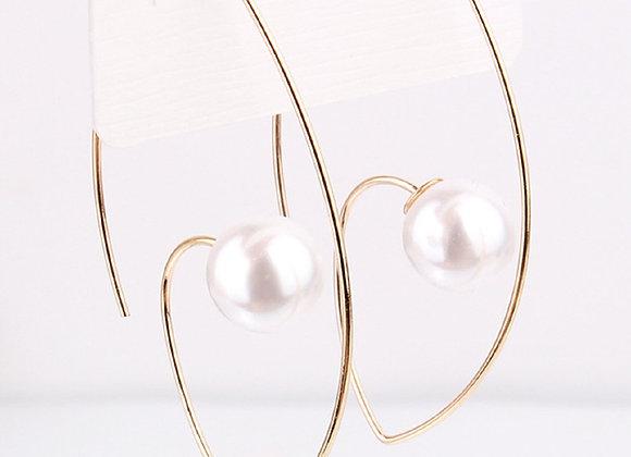 Open Wire Faux Pearl Through Earrings