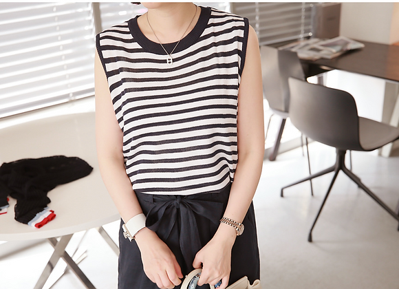 Sleeveless Stripe Knit Top