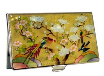 Anti Scan Credit Card Case with Phoenix & Magnolia Blossom Design