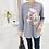 Thumbnail: Stylish Long-Sleeved Flower Print T-Shirt
