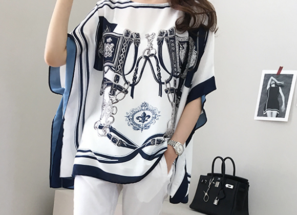 Trendy Pattern Cape Style Tunic Top