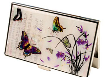 Mother of Pearl Anti Scan Credit Card Case with Orchid and Butterfly Design