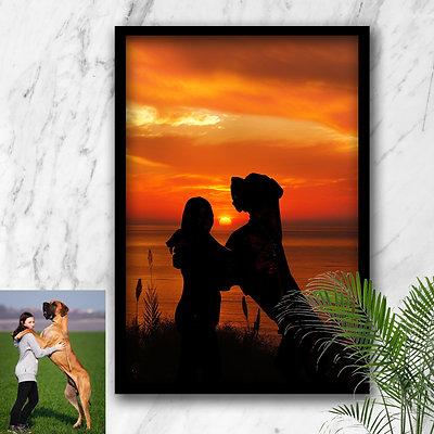 Custom Digital Pet Sunset Portrait
