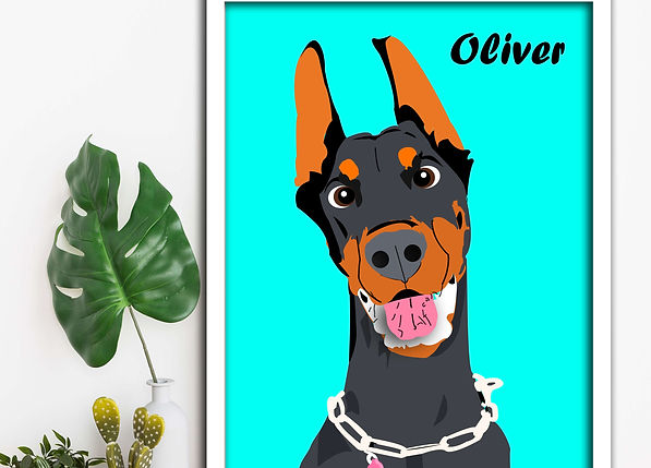 Custom Pet cartoon wall art doberman.jpg
