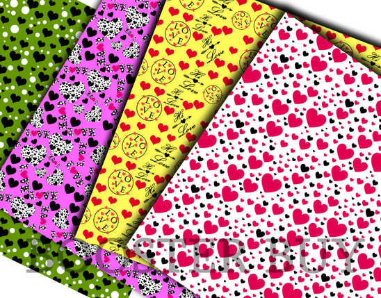 Scrapbooking papers for valentine