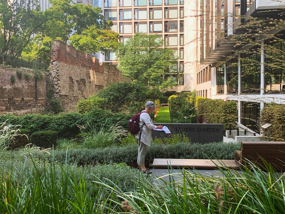 A walled sunken garden with a lady making notes on a clipboard