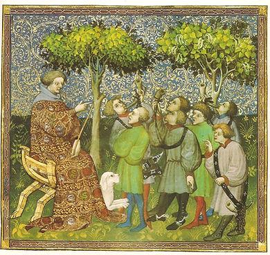 Un maître enseigne à un groupe d'élèves les diverses sonneries de cor. (Livre de chasse de Gaston Phébus [1331-1391]).