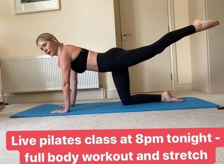 Live Pilates Class tonight at 8pm