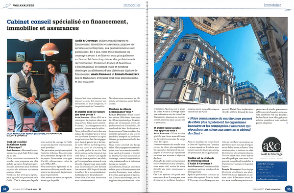 Article Audit & Coverage dans le magazine MEDEF Paris