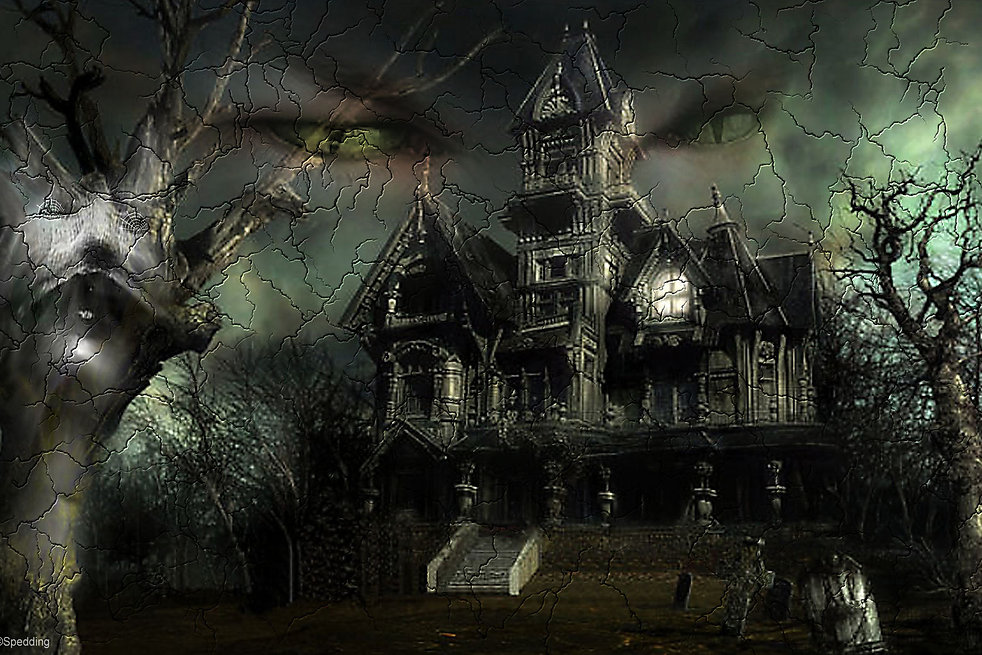 a spooky image of a haunted house