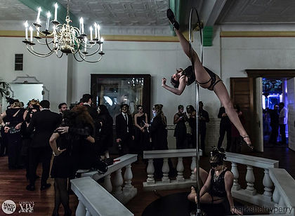 Inverted Aerial performing lolipop lyra at a private event.