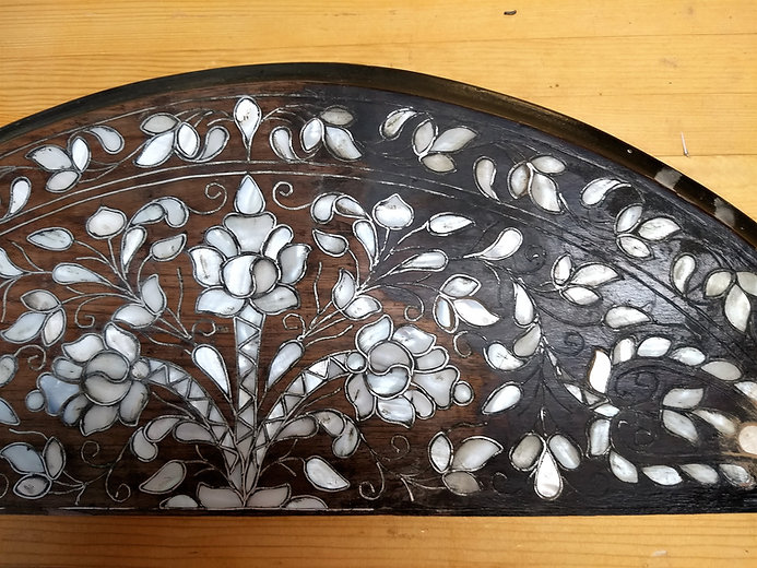 I restored the silver and mother of pearl inlay, of this table leaf.