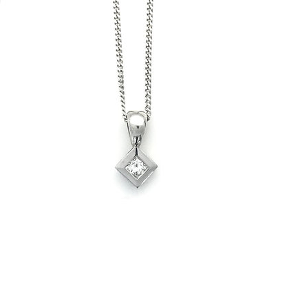 Square Rub Over Diamond Pendant and Chain
