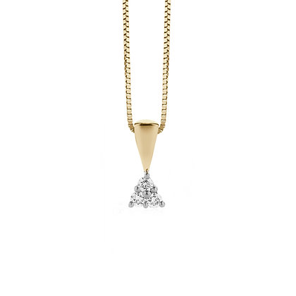 Three Stone Diamond Pendant and Chain