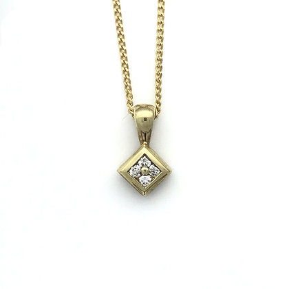 Square Rub Over Diamond Pendant + Chain