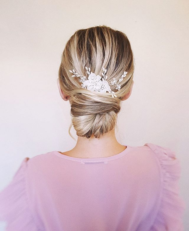 Simple bun and romantic headpiece by _sw
