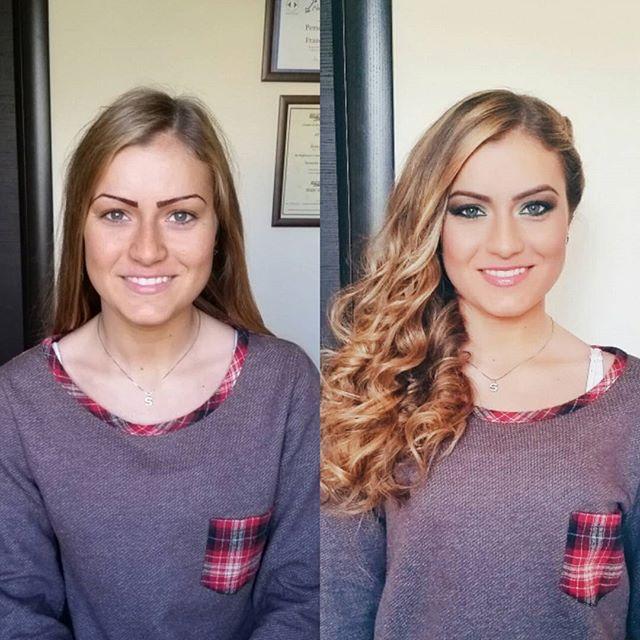 La mia modella di oggi _silvietta_br 😍 Make up e acconciatura fatto da me💜 #primaedopo #primadopo