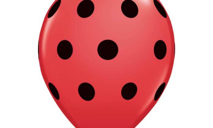 11in Red-N-Black Dots Latex