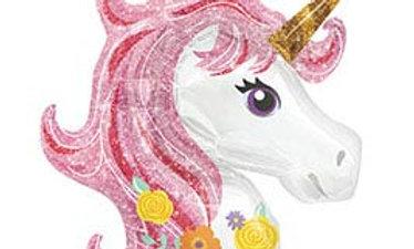 33in Pink Mane Magical Unicorn