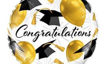 18in Grad Congratulation Gold Balloon