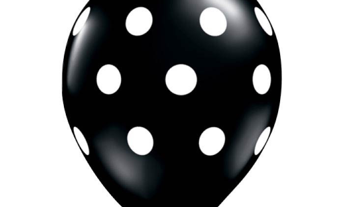 11in Black-N-White Dots Latex