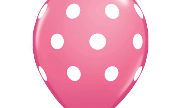 11in Pink Polka Dots Latex