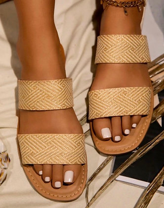 Gold Double Strap Slip Ons