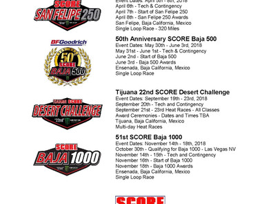 SCORE World Desert Championship  Race Schedule 2018