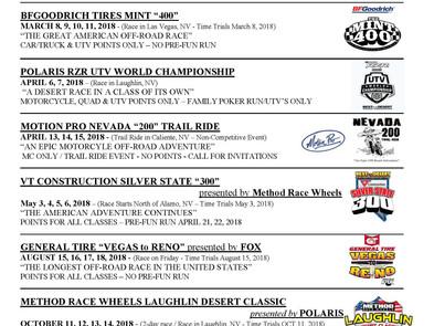 Best in the Desert  - Off Road Racing Series  - 2018 Schedule