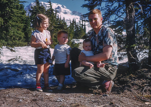 Photo of father and children on Mt. Hood