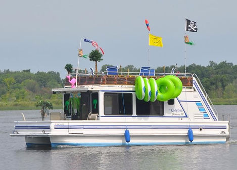 Catamaran Cruiser Houseboat Getaway with Pirate Flag