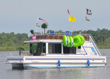 Catamaran Cruiser Houseboat Getaway with Pirate Flag