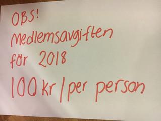 Medlemsavgiften är 100 kr per person och år!