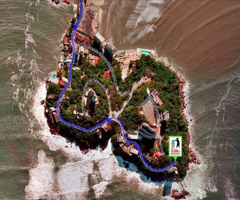 Imagem de satélite da ilha Porchat indicando o ponto de encontro da ação voluntária.