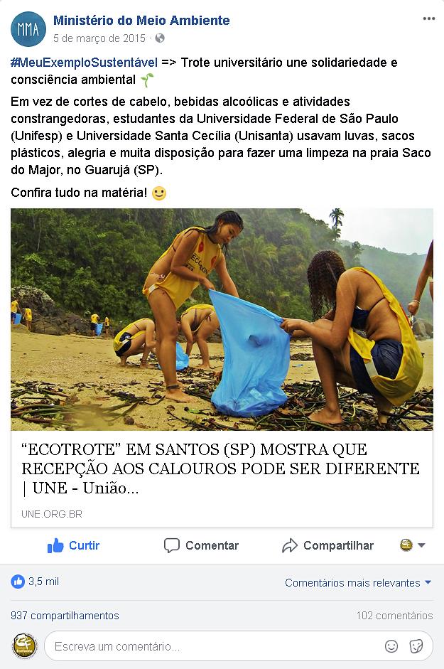 O Trote Ecológico EcoFaxina foi reconhecido pela UNE e pelo Ministério do Meio Ambiente