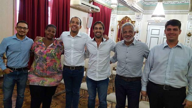 Reunião com o prefeito de Santos, Sr. Paulo Alexandre Barbosa, o secretário do meio ambiente, Sr. Marcos Loborio e o Secretário Chefe de Gabinete, Sr. Sylvio Alarcon sobre a solicitação de aditamento da cessão de uso de área no Jardim São Manoel a ser encaminhada para a SPU.
