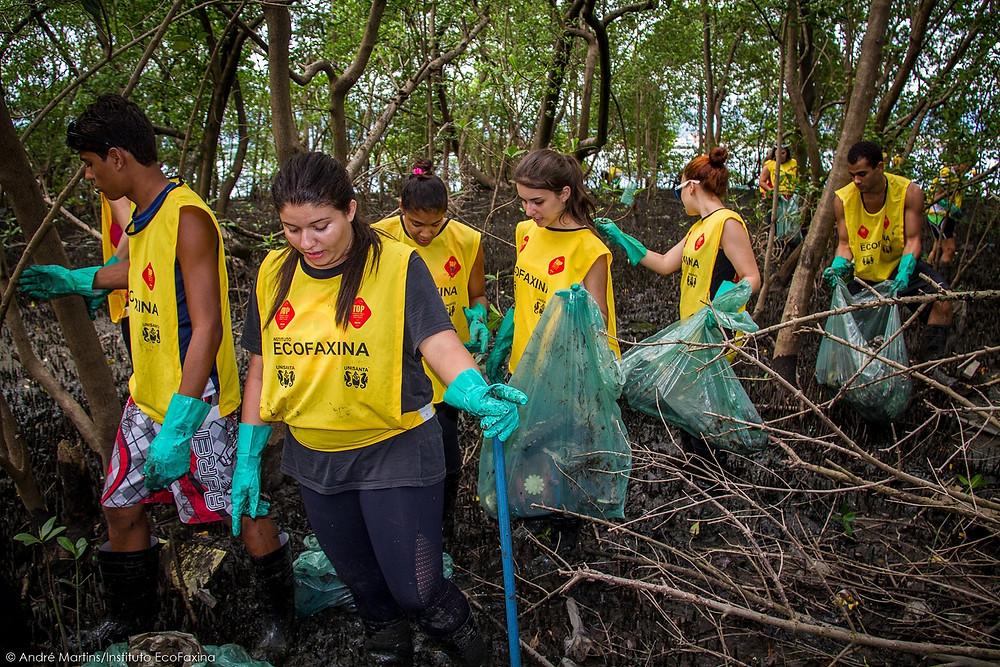 Voluntários(as) coletando resíduos em manguezal de São Vicente que hoje encontra-se aterrado e ocupado por moradias irregulares.