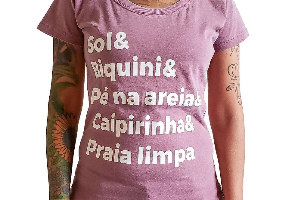 Camiseta Baby Look Praia Limpa Vinho