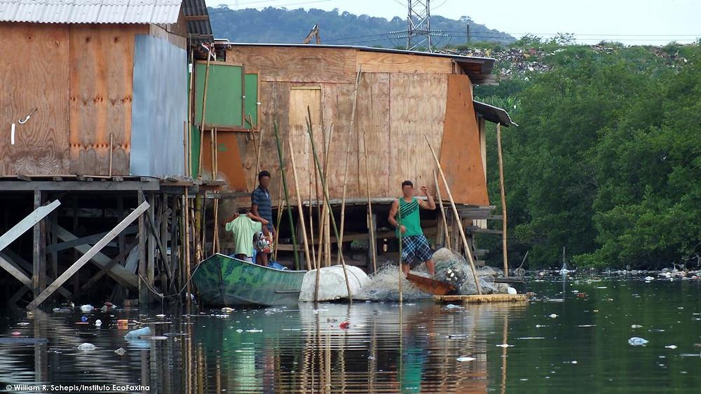 Invasões de áreas de mangue e lixão são fatores que contribuem para a contaminação do rio.