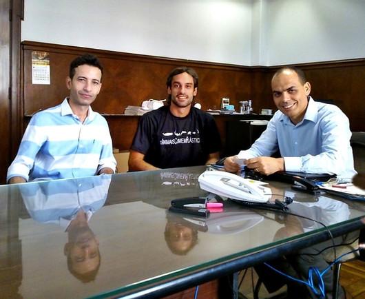 Reunião com o secretário de comunicação, Sr. Rivaldo Santos e o vereador de Santos, Sr. kenny Mendes.