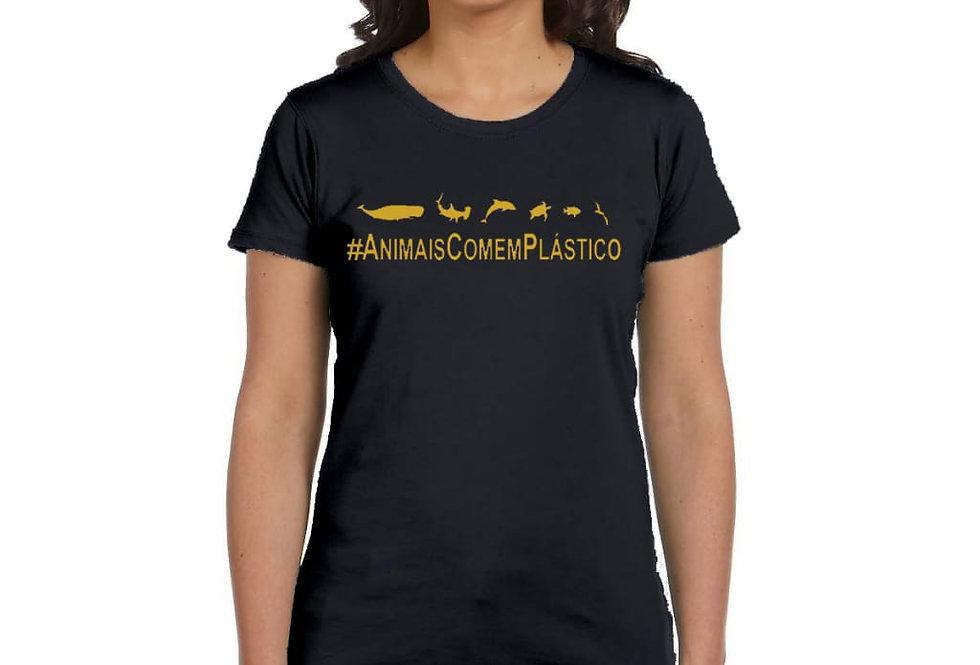 Camiseta Baby Look #AnimaisComemPlástico