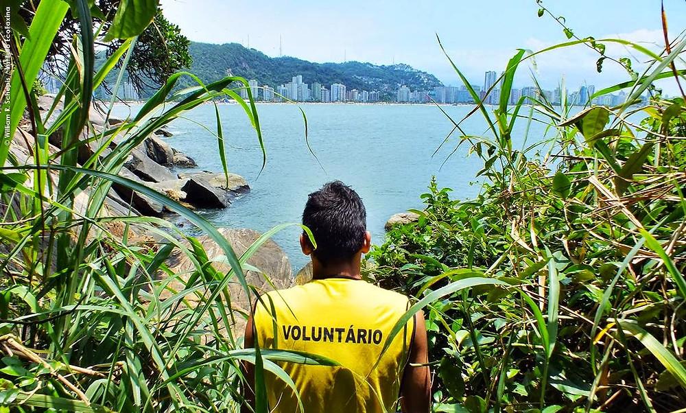 Voluntário contempla a linda vista da praia do Itararé durante ação realizada na ilha Porchat em dezembro de 2013.