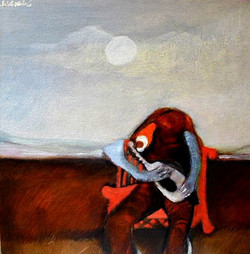 Hombre cantando a la luna