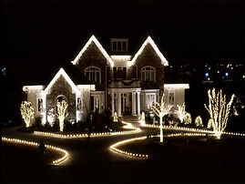 Christmas lighs on a house