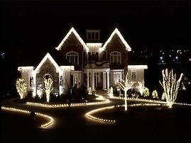 Christmas lighs on a house