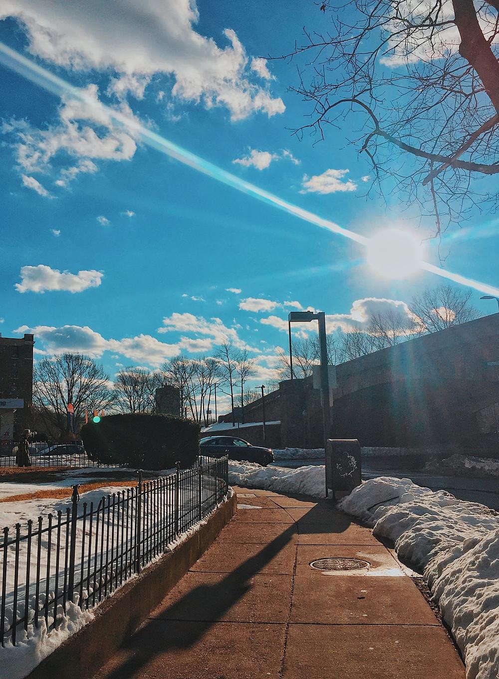 Riverway street snow cloud Boston, international students blog, alien thoughts