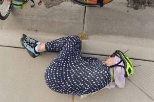 Allison naps during a pit stop